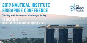 2019 nautical institute singapore conference, dealing with tomorrow's challenges today banner at Suntec City convention centre