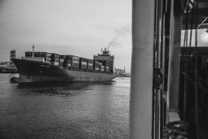 cape faro cargo container in black and white image