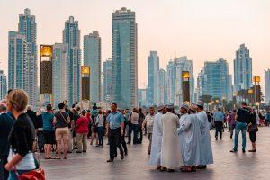 Dubai downtown city centre with a crowd of tourist