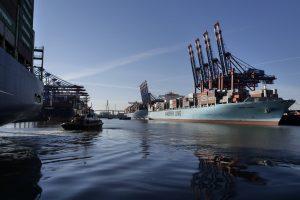 Maersk Line ship in Hamburg daytime at port