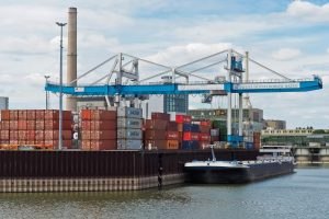 Neuss Dusseldorfer Hafen port with ship and cargo containers