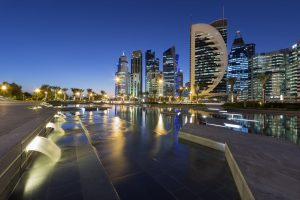 Qatar city lights up at night