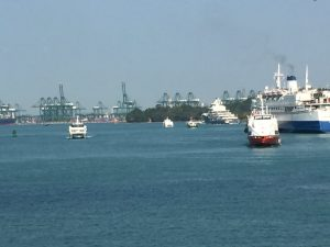 large and small ships near the port