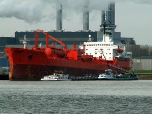 ship and industrial factory with smoke emission, air pollution, climate change cause and effect