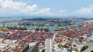 Tanjong Pagar Terminal Port of Singapore filled with cargo containers