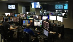 connection control center, cyber security, team seated at work
