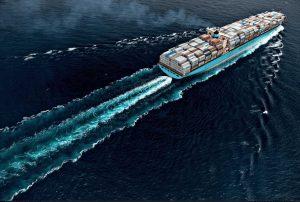 Maersk line vessel moving at sea