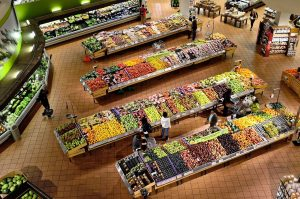 supermarket with an array of fruits and vegetables