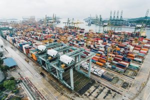 large amount of containers at port