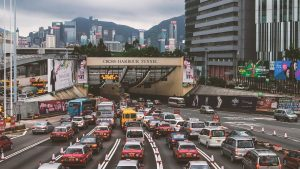 hong kong cross harbour tunnel, heavy traffic in the city and highway