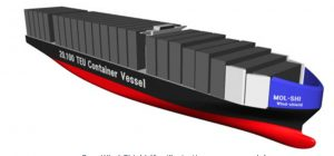 model of a mol container ship