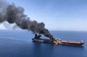 container ship caught fire and went up in flames
