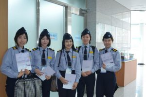 a group of five female sailors awarded with certification