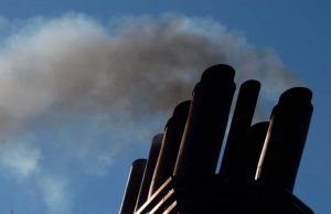 black carbon fumes emitting from ship pipe from heavy fuel oil at the arctic sea