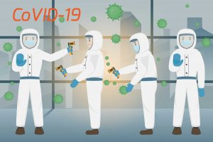 coronavirus covid-19 men in full protection suit holding temperature scanner with virus illustration floating in the air around them stop sign body language