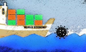 COVID 19 coronavirus bacteria impact on world economy ship illustration