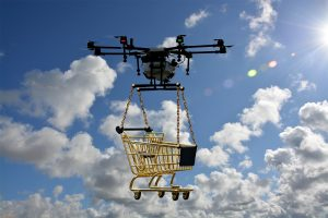 drone lifting off shopping cart into the sky amazon Jeff Bezos ecommerce climate change