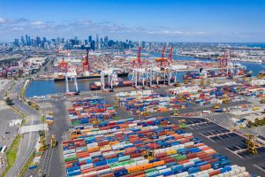 port of Melbourne Australia skyline with containers
