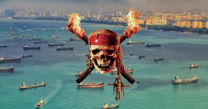 singapore busiest port in the world aerial view of ships pirate attack flame fire