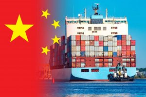 china flag with container ship