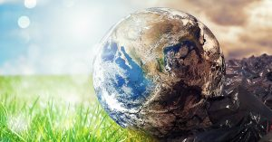 Earth green and polluted earth concept, climate change, protection, save