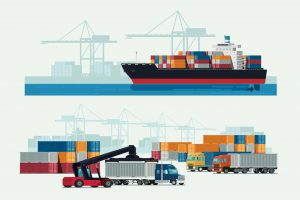 shipping container vessel terminal truck forklift vehicle vector illustration sea land port