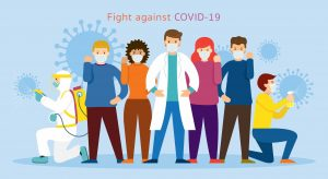 illustration of doctor and common people standing united to fight against coronavirus covid-19, sanitising with spray bottle and equipment, geared up with protective uniform