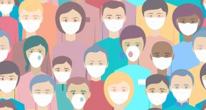 men and women wearing face masks to protect themselves from virus illustration concept
