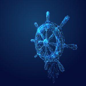 Ship Wheel navigation polygonal abstract illustration blue starry sky Cosmos