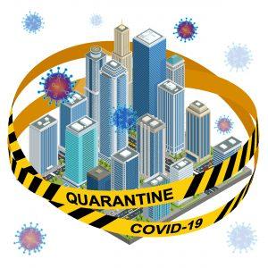 quarantine covid-19 belt securing high rise city centre with virus illustration