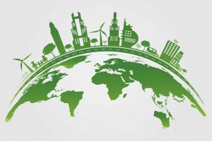 Ecology Green cities help the world with eco-friendly concept, sustainability on earth