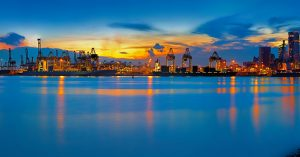 singapore container ports sunset skyline panorama