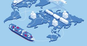 Global logistics network isometric illustration Icons set of air cargo trucking rail transportation maritime shipping, On-time delivery, Vehicles designed to carry large numbers of cargo