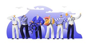 happy sailors illustration, Ship Crew Male Characters in Uniform. Captain at Steering Wheel, Sailors in Stripped Vests Holding Life Buoy and Ringing Bell. Maritime Profession