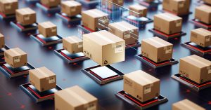 IoT logistics smart automation environment packaging management concept, online shopping