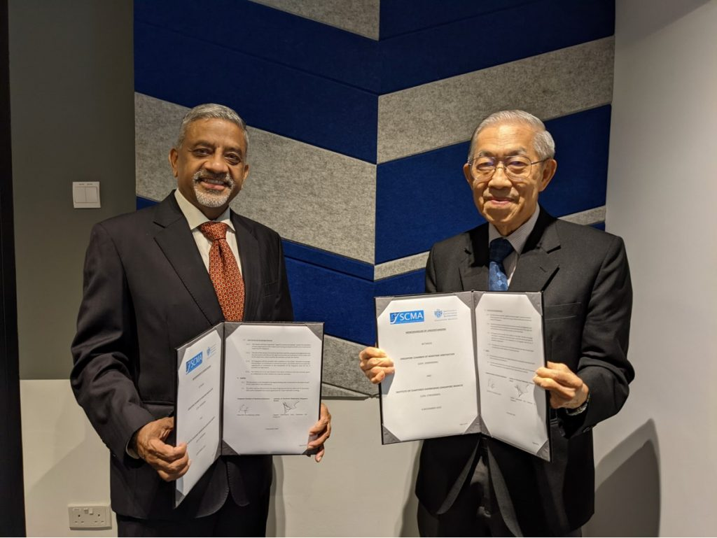 (From left) Captain Subhangshu Dutt, Chairman of ICS Singapore and Justice Chao Hick Tin, Chairman of SCMA.