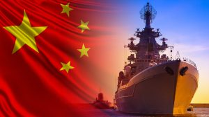 Combat duty of Chinese ships. Ship and submarine on the background of the flag of China. The Chinese fleet. China's Navy. Equipping ships of the Chinese army.