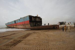 Manually dissasembled vessel in Gadani ship breaking yard